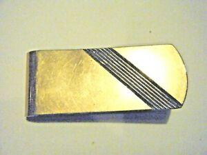 Vtg 1950s Sterling 14K Gold Plate Money Clip by Colibri Art Deco Design