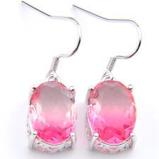 Valentine's Gift Shiny Oval Rose Quartz Gemstone Silver Dangle Hook Earrings New