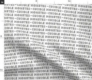 Grey Baby Monster Monochrome Baby Girl Cuddle Spoonflower Fabric by the Yard