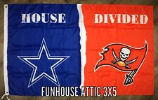 "Dallas Cowboys vs Tampa Bay Buccaneers NFL ""House Divided"" FLAG 3x5 ft Banner"