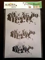 Stencil by Aurora Arts A4 Deer in the forest 190mic Mylar craft stencil 086