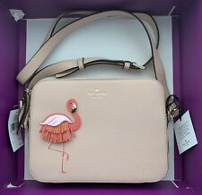 Authentic Kate Spade By The Pool Flamingo Camera Zip Crossbody Bag Handbag New