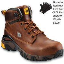 JCB 4x4 Mens S3 Waterproof Steel Toe Cap Safety Work Shoes Brown Boots Size 6-13