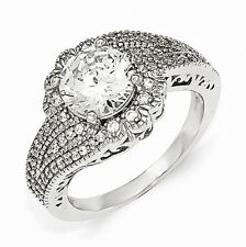 Cheryl M Sterling Silver 100-Facet CZ Ring Size 6 #1018