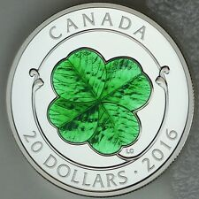 2016 $20 Four Leaf Clover 1 oz. 99.99% Pure Silver Color Proof, Green Enameled