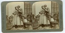 "B0835~ ""Good Night George"" 1897 Kissing Stereoview Cute Woman *MINT-*"