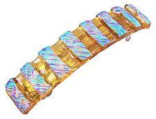 "Dichroic Hair Barrette 3.5"" 9cm Amber Green Opal Fused Glass Striped Textured"