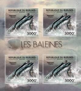 BLUE WHALE Marine Life Stamp Sheet #6 of 7 (2012 Burundi)