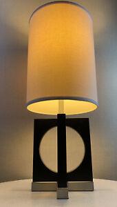 Vintage Nova 90's Modern Space Age Brushed Metal & Wood Lamp