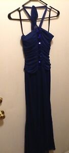 Womens Cocktail Halter Strap Dress Size 4 Blue Dress With Sequins