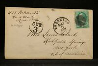 USS Portsmouth 1870s Cover from Lewis Clark on Ship, Brooklyn, NY Due 3