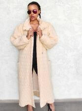 Alafoss Of Iceland Ice wool Women's Winter Coat Trench Ivory White Cream Size M