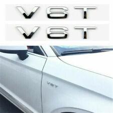 2x V6T Chrome Badge Pair Emblem Decal Logo For Audi Wing Side Fender Rear Boot