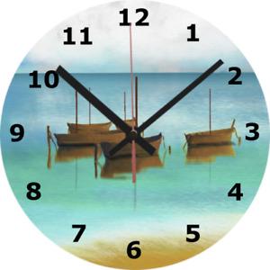 WALL CLOCK BOAT ART SILENT 25cm seaside beach calm holiday home decor diy 824