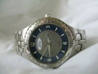 Ford Motor Company Watch Silver Toned Stainless Steel Band WORKING!