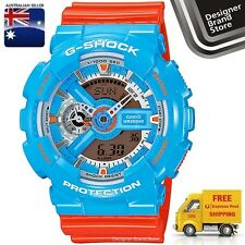 New Casio G-Shock Watch Ga-110Nc-2A Pop Color Orange Blue Ana Digi -Free Express