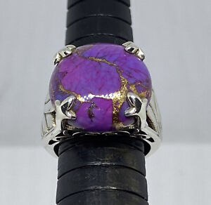 Bali 925 Sterling Silver Oval Purple Turquoise Ring Size US 6 Genuine Indonesia