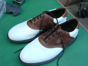 Footjoy Super Lites Men's 8 1/2 M Brown/White Oxford Soft Spike Golf Shoes