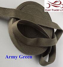 Army Green Color 25MM Cotton webbing Tape soft Belt Fabric Strap Bag dress-Mkh