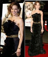 Monique Lhuillier Tulle Black Gold Long Runway Gown Evening Dress IT 40 / US 4