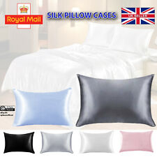 Soft Silk Pillow Cases Pillowcase Pure Mulberry Satin Cushion Covers Bed UK Home