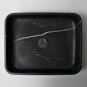 Nero Marquina Marble Rectangular Honed Stone Basin 322