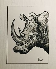 Original Aceo Art Card Rhino Sketch Ink Drawing 3.5x2.5 In. Signed