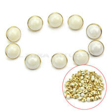 100 Pcs White Imitation Pearl Half Round Plastic Buttons Fit Sewing Di LLG