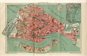 1909 ITALY VENICE VENEZIA CITY PLAN Antique FOLIO Map dated