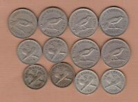 12 NEW ZEALAND 1933 TO 1965 SIX & THREEPENCE COINS IN FINE OR BETTER CONDITION