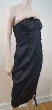 CHRISTIAN DIOR BOUTIQUE Vintage Black Boned Bandeau Brass Buckle Evening Dress
