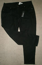 LOVE BYTES Jeggings Plus Skinny 'Jean Look' Pants Tight DISTRESSED BLACK 2X #35