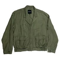 Madewell Womens League Cargo Olive Green Linen Lightweight Jacket Size Large L
