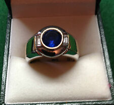 NEW 18CT W/Y Blue Sapphire & Bag Diamond S/S Ring Size N