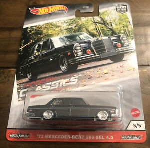 Hot Wheels Premium MODERN CLASSICS '72 MERCEDES-BENZ 280 SEL 4.5 5/5 Real Riders