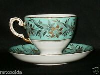 Royal Tuscan Turquoise Border Gold Flowers and Gray Leaves Teacup and Saucer Set