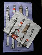 1 x Australian Lighthouse Souvenir 100% Cotton Tea Towel  Blue or White