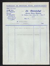 """PARIS (XI°) USINE / ARTICLES en BRONZE pour AMEUBLEMENT """"BRONZSTYL"""" en 1955"""