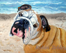 Old English Bulldog Art Print of original portrait oil painting bull dog Zebley