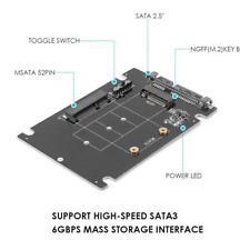 2 in 1 mSATA to SATA NGFF M.2 to SATA3 Converter PCB Adapter Card SSD Disk Drive