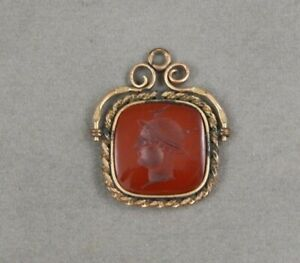 Antique Victorian Gold Filled Carved Carnelian Roman Soldier Watch Fob