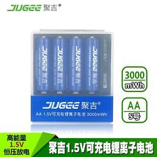 4pcs JUGEE 1.5v 3000mWh li-ion rechargeable lithium AA batteries W charger