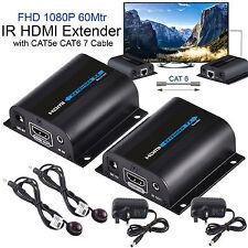 3D 1080p HD HDMI IR Extender Sender Adapter Over 60m LAN RJ45 CAT5e CAT6 7 Cable