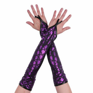 Women Stretchy Long Sleeve Fingerless Gloves Metallic/Fish Scales Arm Costume