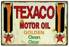 Vintage Antique Style Metal Sign Texaco Motor Oil 18x30