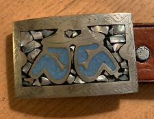 Inlay Turquoise & Abalone Leather Belt Man In Sombrero Belt Buckle Silver with