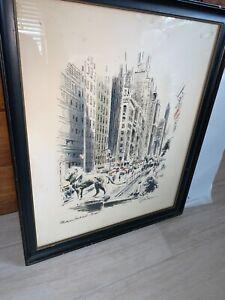 Vtg John Haymson MICHIGAN BOULEVARD Chicago Watercolor Print framed