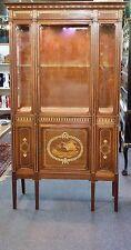 "Antique Mahogany French Etagere. Inlay,Adjustable shelf,Lights.1900. 69""T"