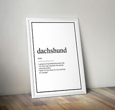 Dachshund dog definition, print, poster, quote, wall art, gift, pet, family