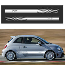 Side Stripes Skirt Sticker For FIAT 500 Abarth Decals Wraps Body Stickers White